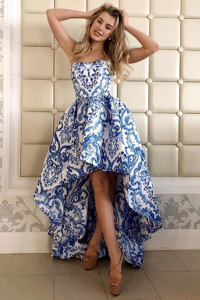 Princess A Line Strapless High Low Blue Homecoming Dresses Print Long Party Dress H1101