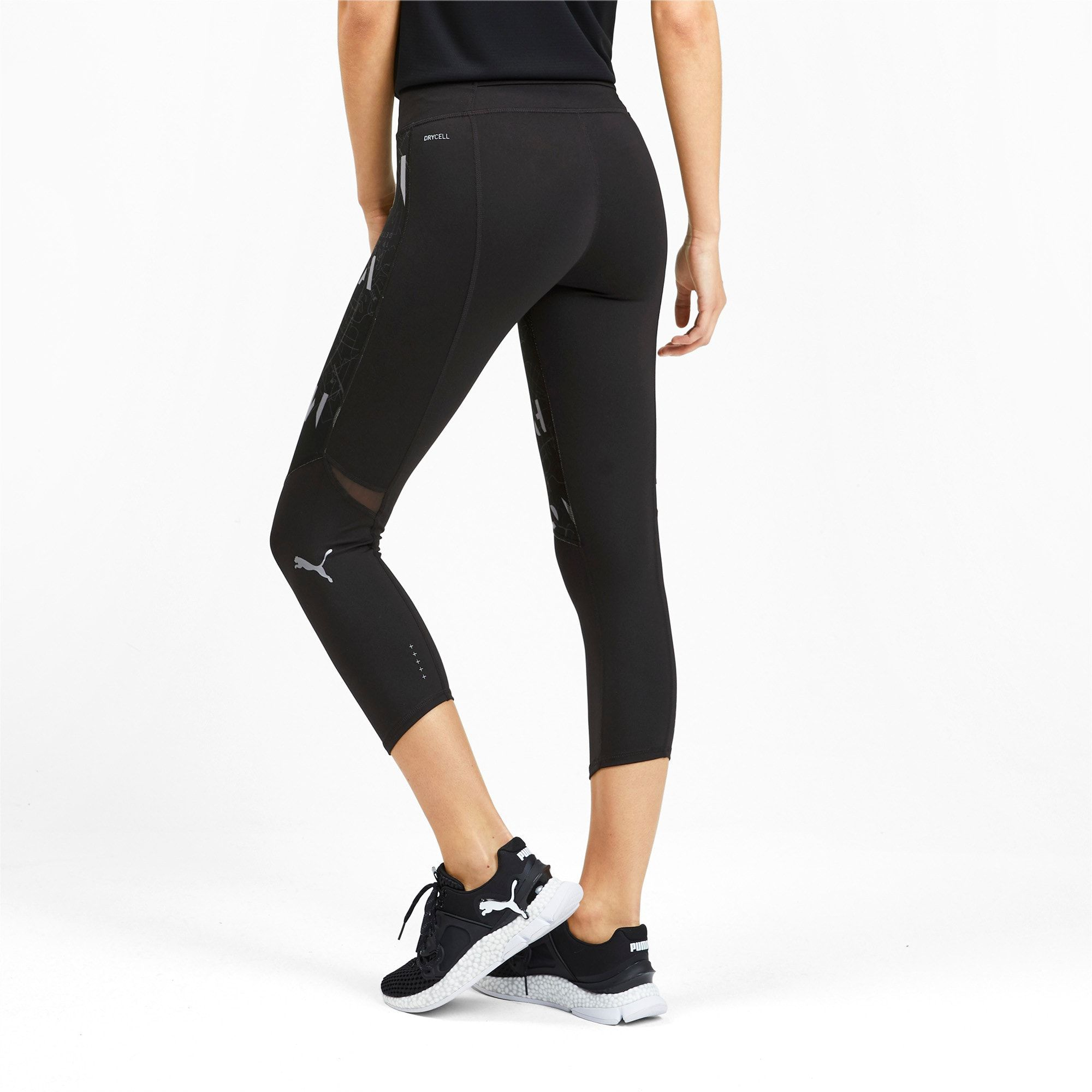 PUMA Graphic 3/4 Women's Running Tights in Black/Reflective ...