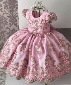 Princess Kids Lace Flower Embroidered Ball Gown Baby Girls Party Dress - Fasmop