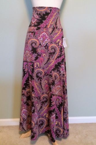 417eb80e52 Lularoe-Paisley-Long-Maxi-Skirt-Dress-Cover-S-Small-Black -Fuchsia-Yellow-Orange