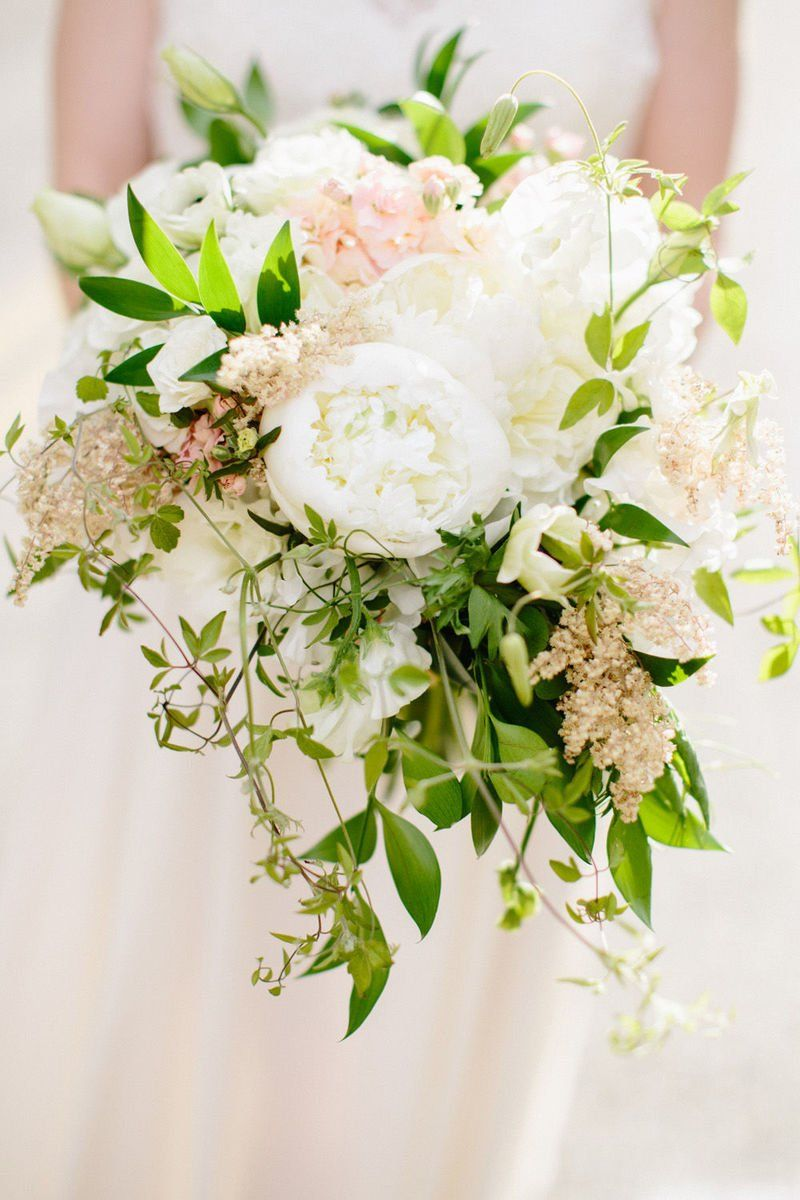 Spring Wedding Bouquet Idea White Peonies With Greenery And Pink