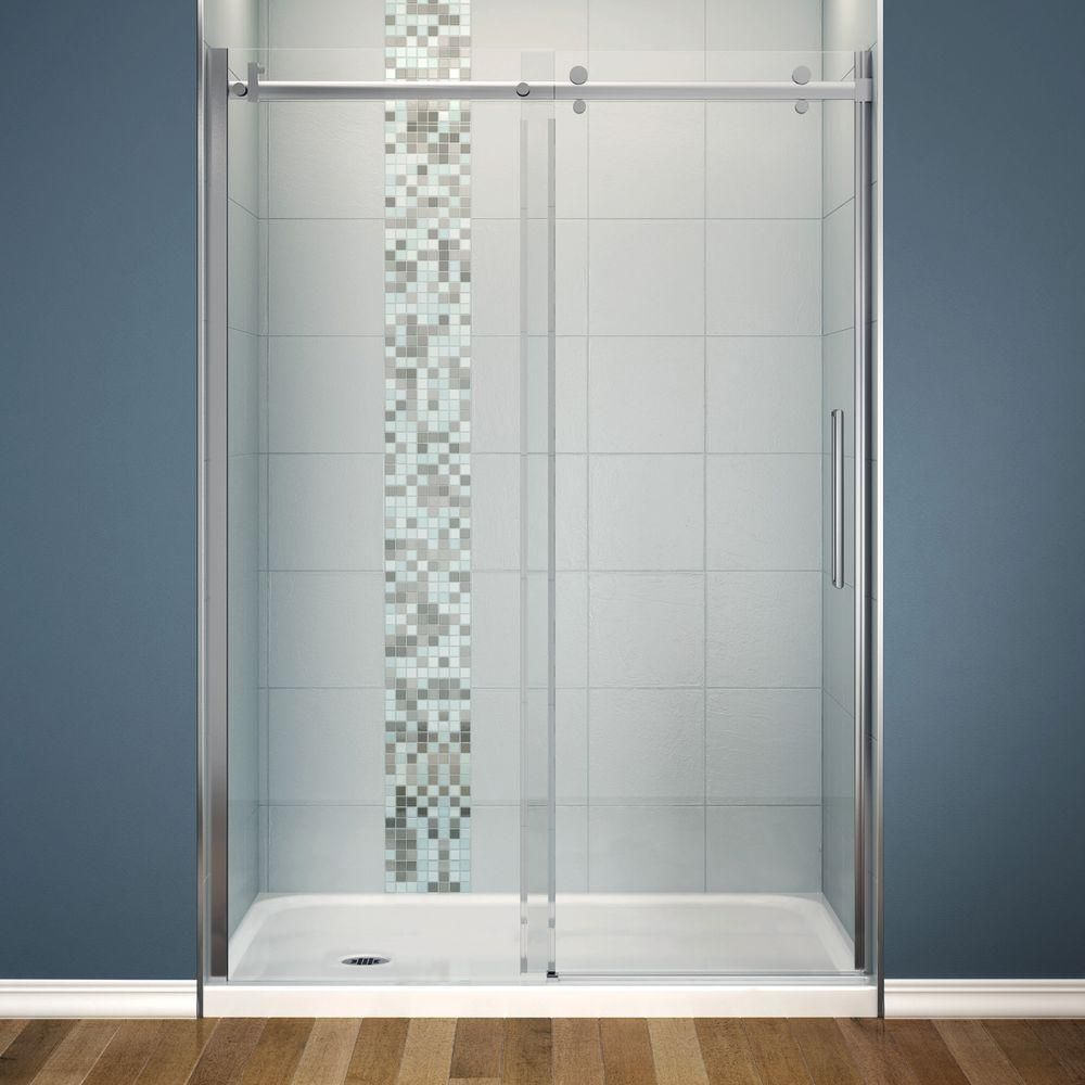 Maax Halo 30 In X 60 In X 81 3 4 In Frameless Sliding Shower