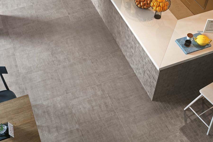 Moderne Eleganz Bodenfliese Warp grau in Betonoptik Die Fliese Warp