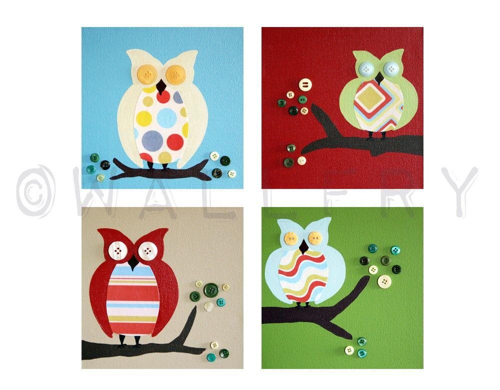 Nursery art Owl prints for children. Owls For boys girl by Wallfry, $47.00