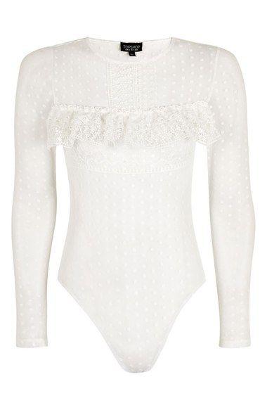 Main Image - Topshop Polka Dot Lace Bodysuit  5362770cf