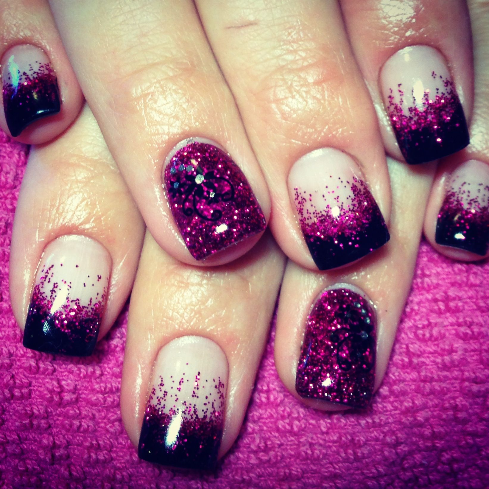 This Is Cool Black Tip Pink Glitter Fade Gel Nails With Glitter Feature Nail And Flower Decals Glitter Gel Nails Simple Nails Glitter Nails