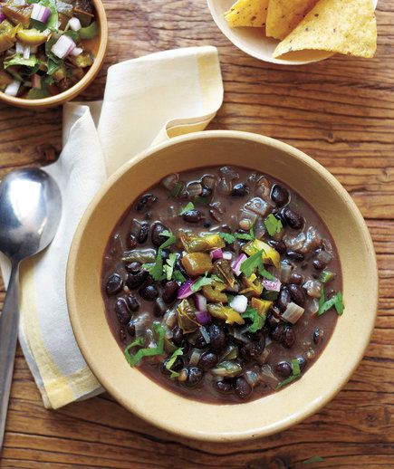 Black Bean Soup With Roasted Jalapeño Salsa   The secret ingredient in this high-protein soup? Charred jalapenos, which add a deep, smoky note to this meal-in-a-bowl.