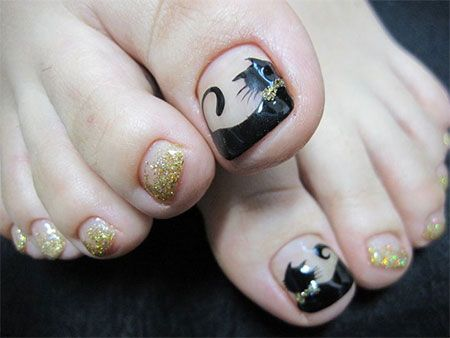Cat Face Toe Nail Art Designs Ideas 2014 For Girls 2 Cat Face Toe