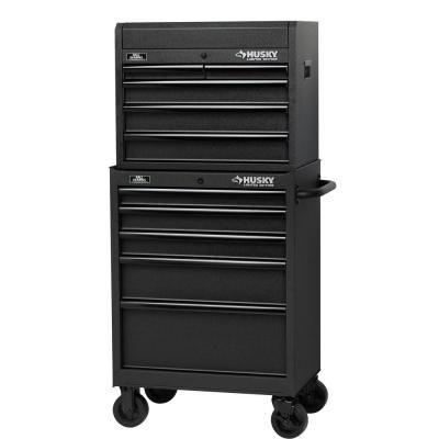 Husky 27 in. 5-Drawer Tool Cabinet, Textured Black, Rust-Resistant ...