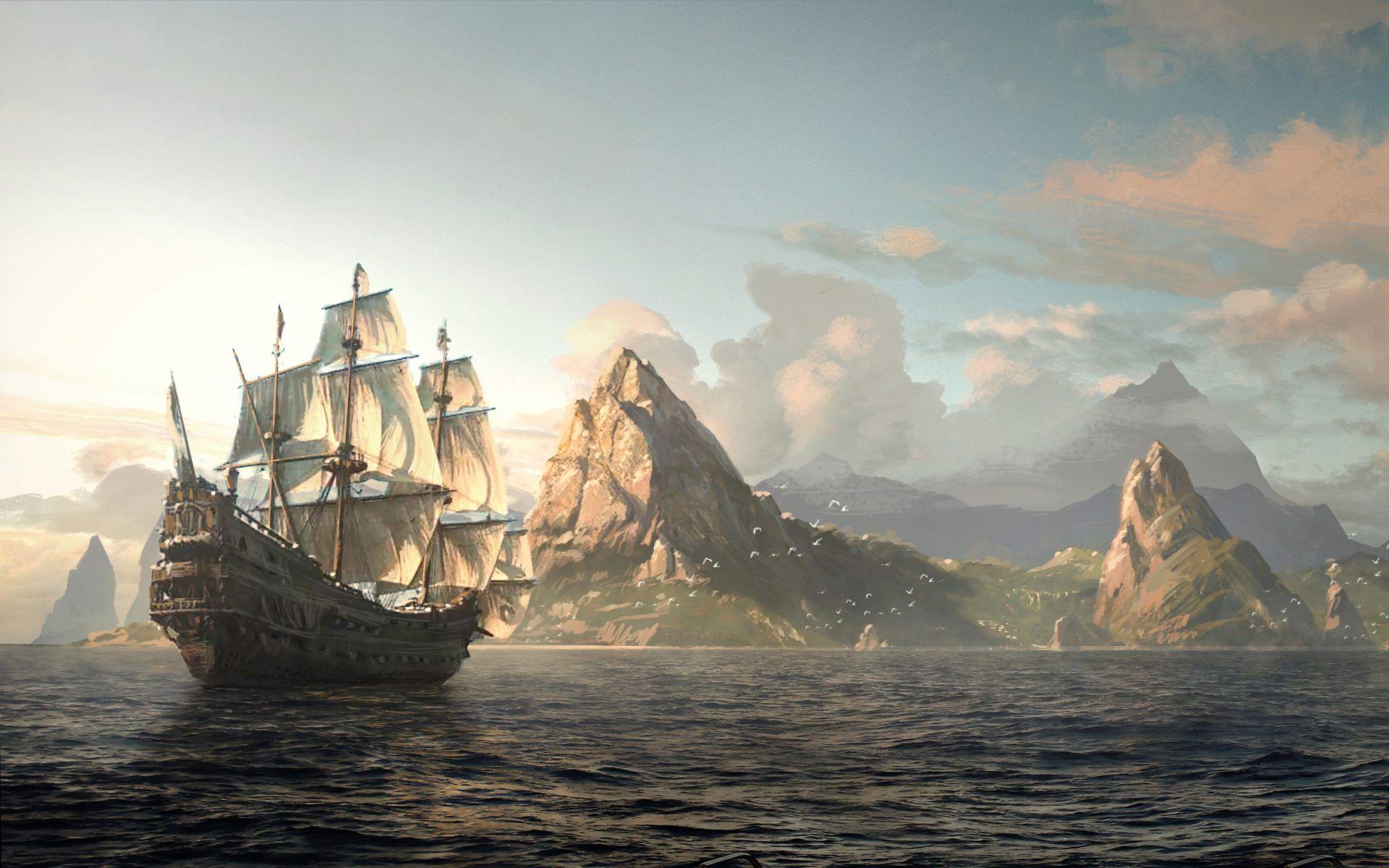 Fantasy ship cliff jolly roger pirate ship rock lightning wallpaper - Pirate Ship Wallpaper Free Sdeerwallpaper