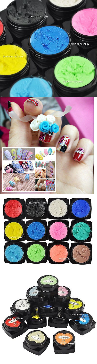 Nail Art Accessories: 12 Sculpture 3D Carved Glue Painting Uv Gel ...