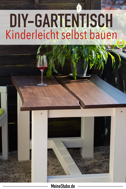 Gartentisch Selbst Bauen Mit Baumkante Diy Meinestube Holztisch Garten Gartentisch Gartentisch Selber Bauen