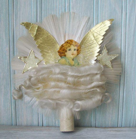 Vintage Christmas Angel Tree Topper Spun Glass Angel Hair Christmas Angels Vintage Christmas Antique Christmas Decorations