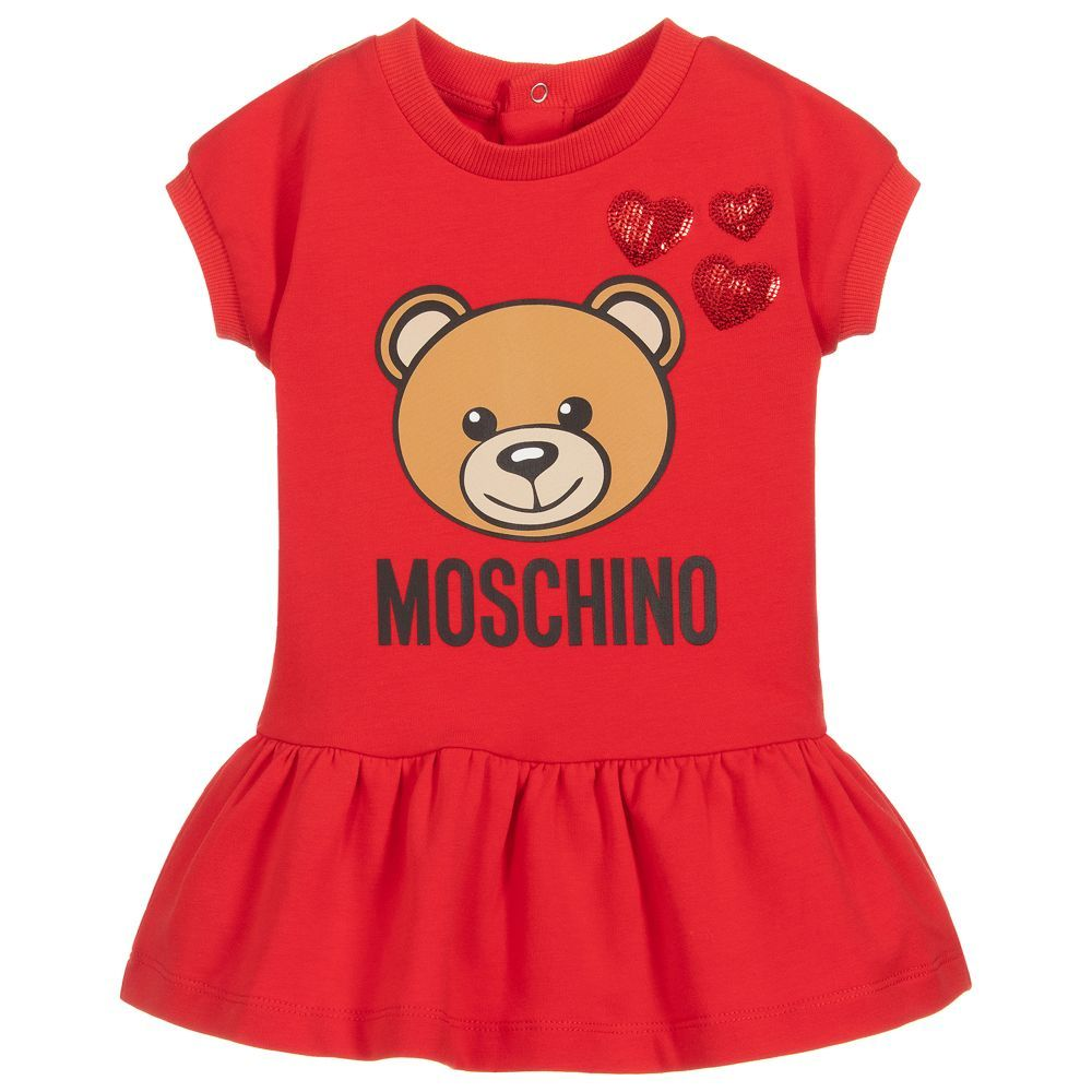 b8e6c8cf0 A red cotton dress for younger girls by Moschino Baby, made from soft  lightweight sweatshirt material. This sweet little dress has a cute teddy  bear graphic ...
