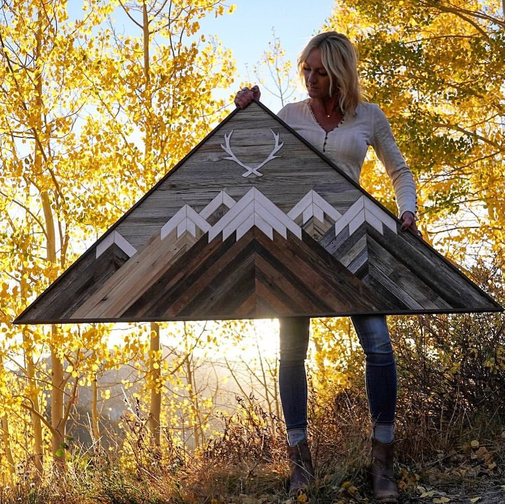 RAW Restorations, barnwood, reclaimed wood art, wood wall art, mountain art. #reclaimedwoodwallart