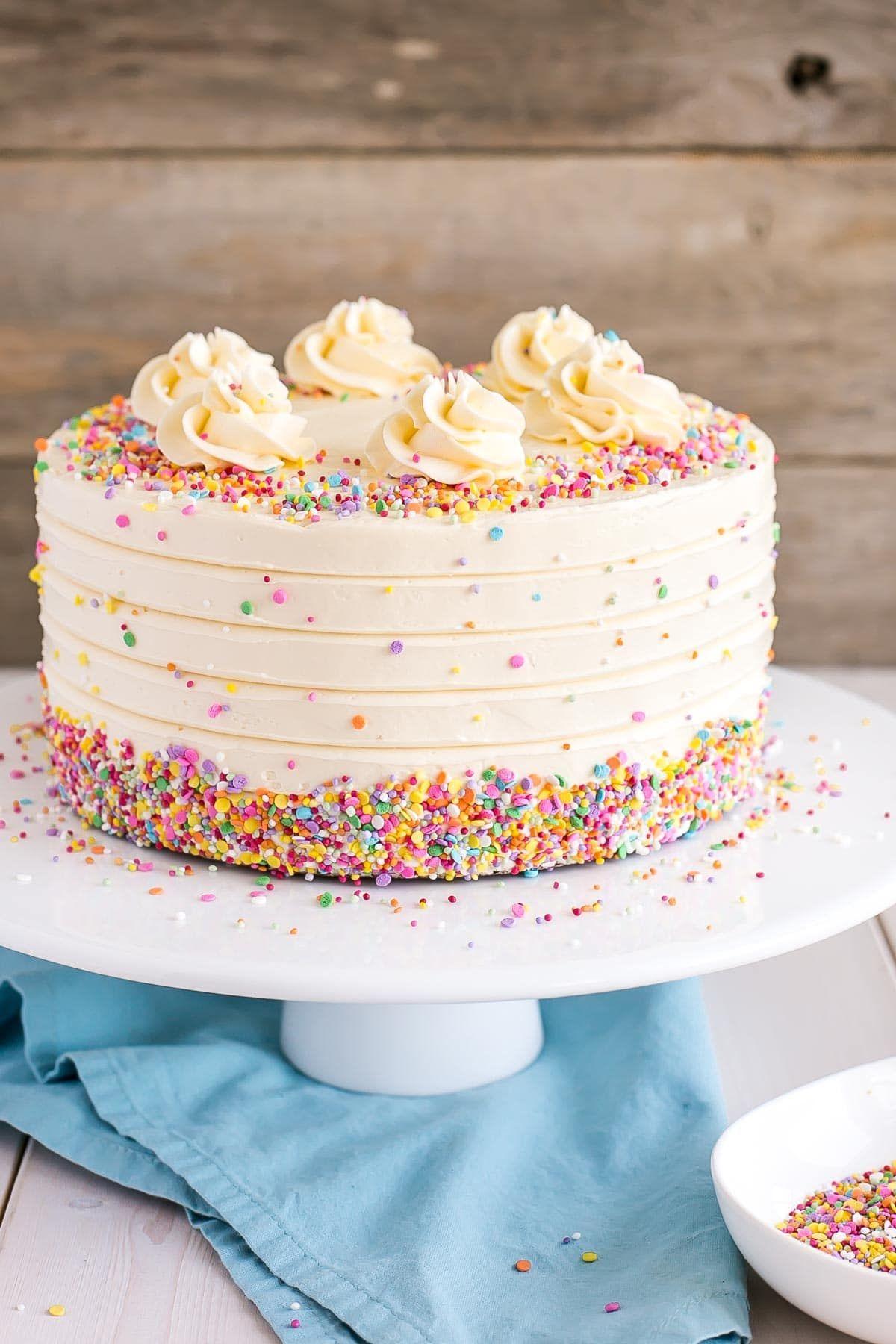 This Classic Vanilla Cake Pairs Fluffy Vanilla Cake Layers