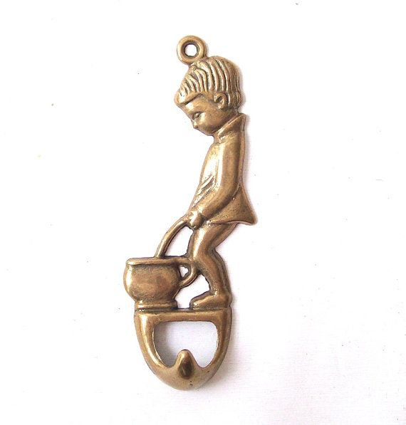 Vintage brass hook bathroom little boy peeing toilet made for Bathroom accessories made in italy