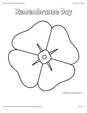 Remembrance Day Coloring Page With A Large Poppy To Color Poppy Coloring Page Remembrance Day Remembrance Day Poppy