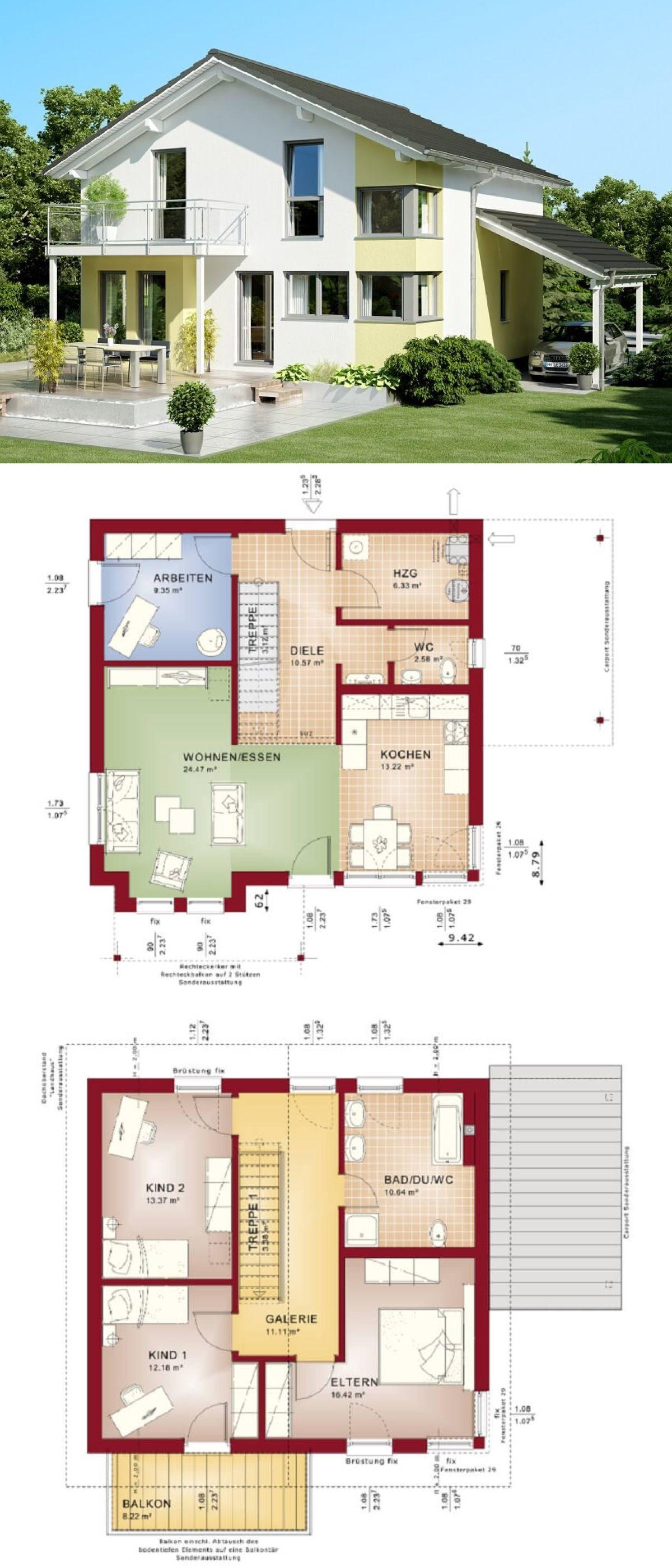 Satteldach-Haus modern mit Galerie & Carport - Einfamilienhaus bauen ...