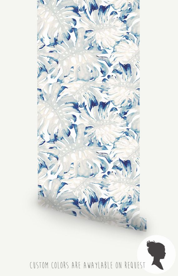 Watercolor Blue Monstera Removable Wallpaper, Tropical