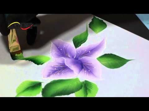 Pinceladas Orquídeas uñas, one stroke - YouTube