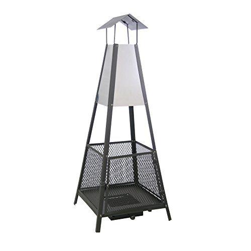 Kaminoflam chemin e ext rieure moderne helena gris et noir grille anti tincelles et tiroir de - Cheminees exterieures pour jardin ...