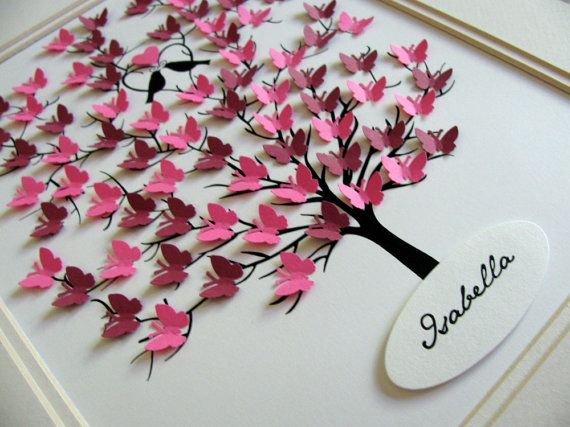 FULLEST SAMPLE above in Hot Pink has 60 mini butterflies which measure just over 1/2 inch ~ they do NOT have room for words or text ~ they are meant to be decorative ... not a guest book.  DETAILS --- TREE is printed with archival black ink on 140 lb watercolour paper :: SIZE is 8.75 X 10.75 inches :: UNmatted and UNframed :: background is 140 lb acid free Fabriano watercolour paper :: approximately 60 mini butterflies can fit ~ each measuring just over 1/2 inch are hand punched fro...