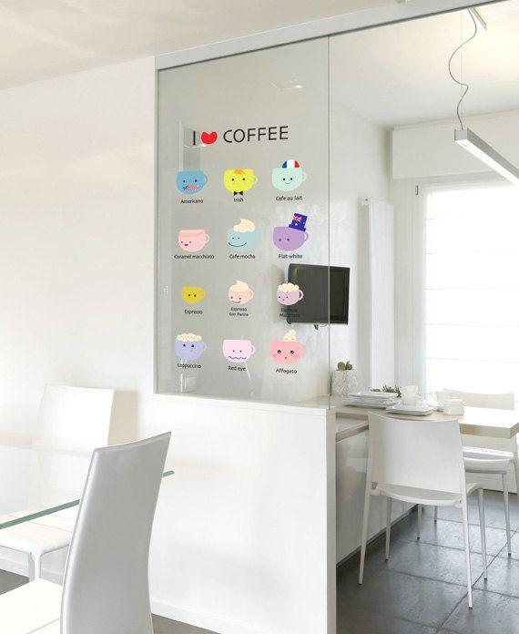 I love coffee wall sticker removable decor door for Decorar habitacion residencia universitaria