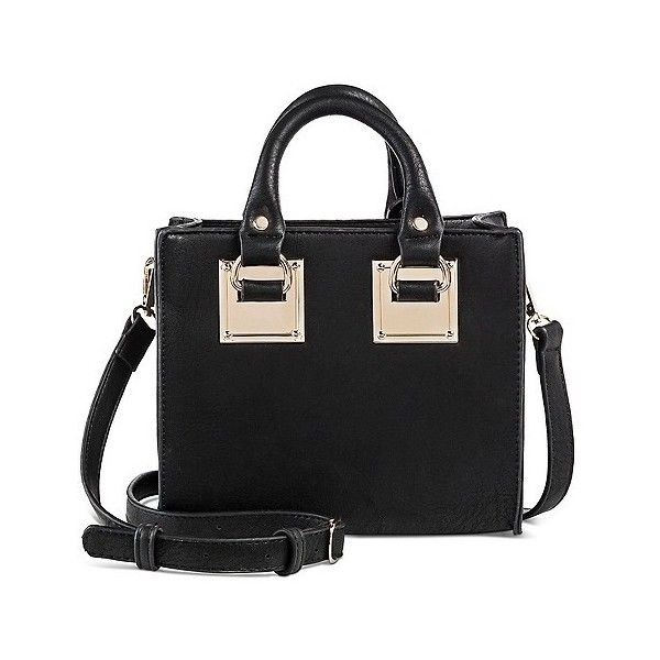 Miztique Women's Mini Structured Crossbody Handbag With Hardware Deco... ($35) ❤ liked on Polyvore featuring bags, handbags, shoulder bags, black, mini crossbody handbags, purse shoulder bag, gold shoulder bag, handbags crossbody and handbags purses