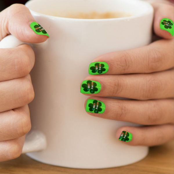 Happy St. Patrick Irish Flag Colors Shamrock Green Minx Nail Art ...