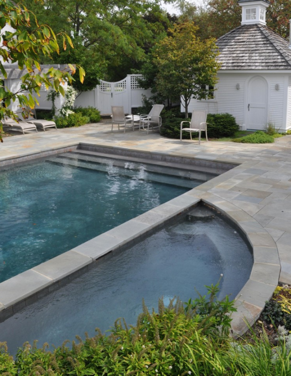 Slate Tile In The Pool House Or Cabana Backyard Pool Swimming Pool Designs Pool Houses