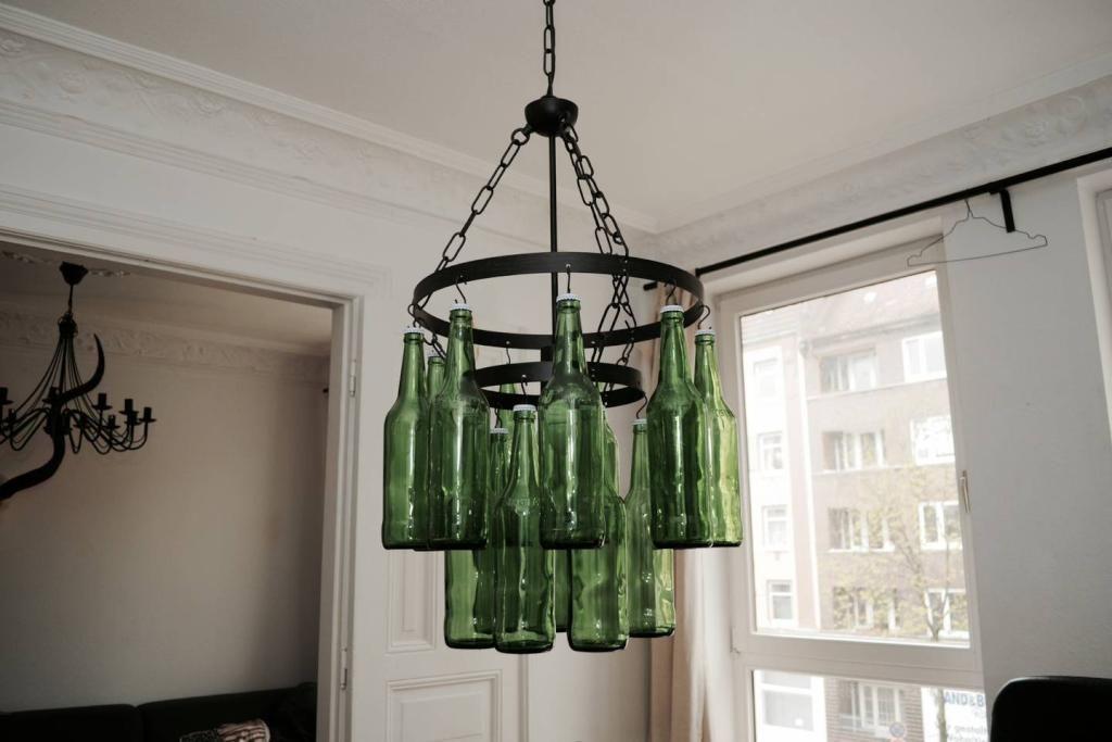 Licht Aus Alten Flaschen Diy Licht Deckenlampe
