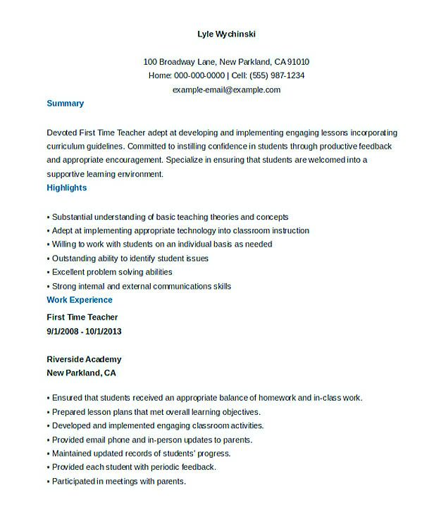 Good Teachers Resume Format , Writing a resume is not that easy - first time resume templates