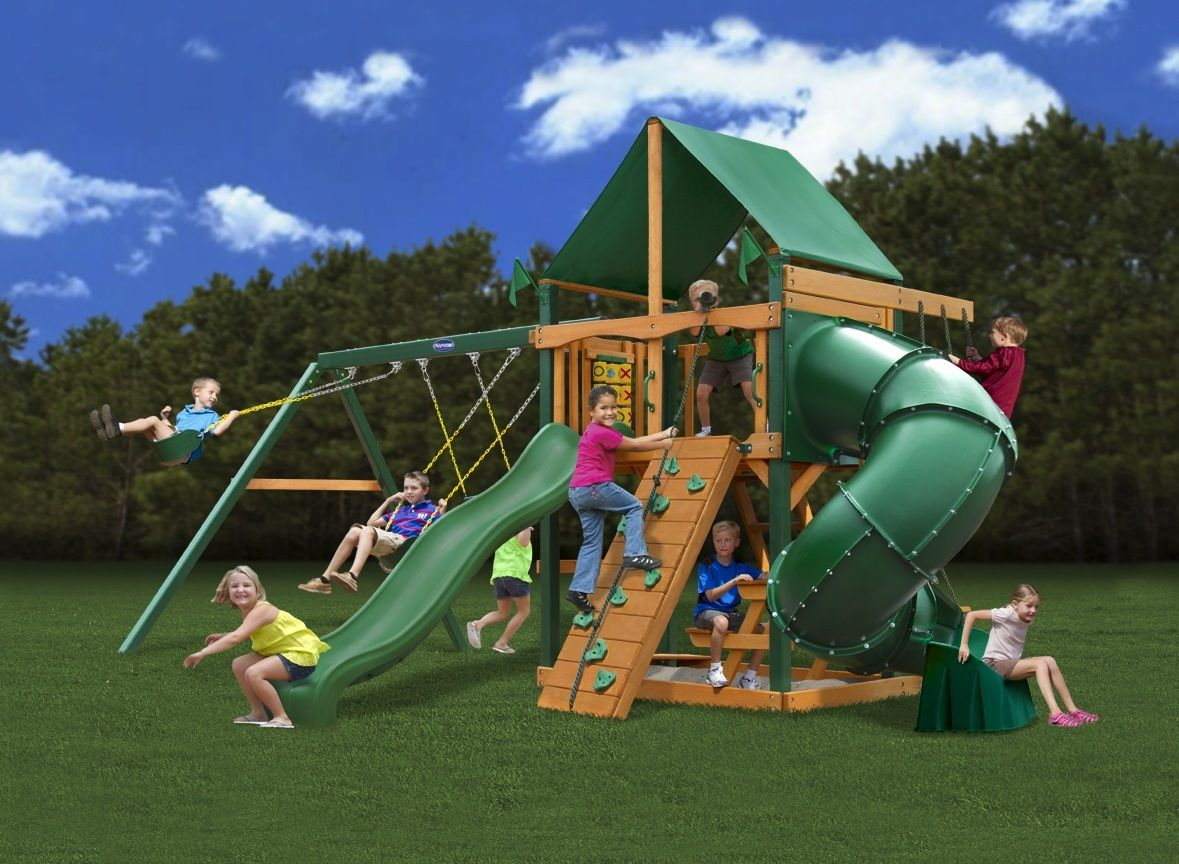 gorilla playsets mountaineer deluxe wooden swing set swings and