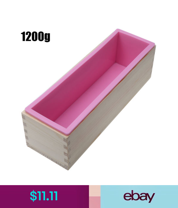 Rectangle Silicone Soap Loaf Mold Wooden Box Diy Making