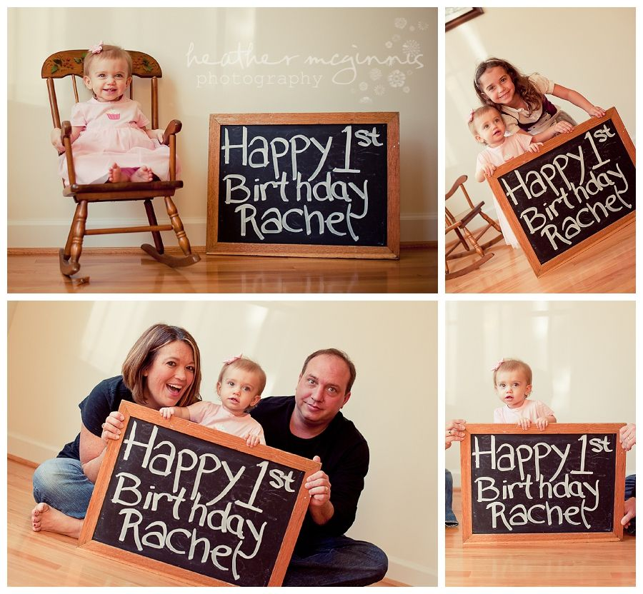 Adorable Baby Girl At Home On First Birthday With Big Sister And