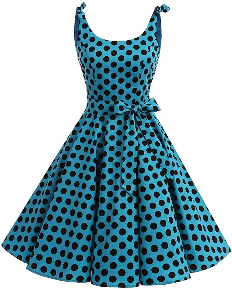 Bbonlinedress Womens 1950s Vintage Retro Polka Dot Swing Dress Floral Lace Cocktail Party Dress Turquoise S