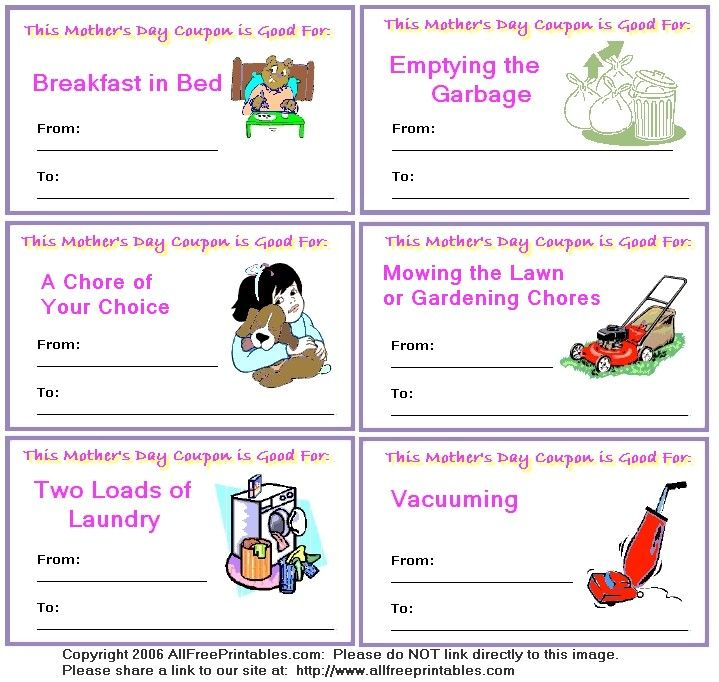 Mother's day coupon book... free printables | classroom management ...