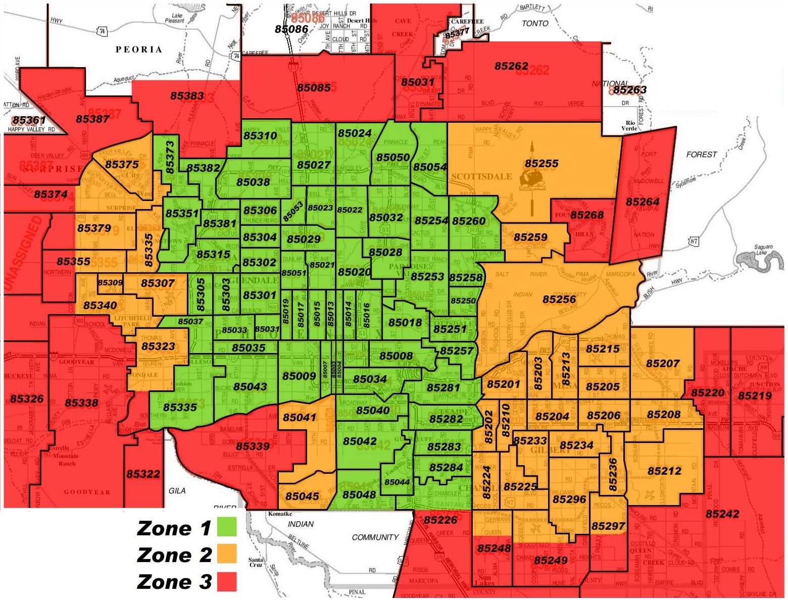 sedona az zip code map Maricopa County Zip Code Map Area Rate Map Metro Map Zip Code