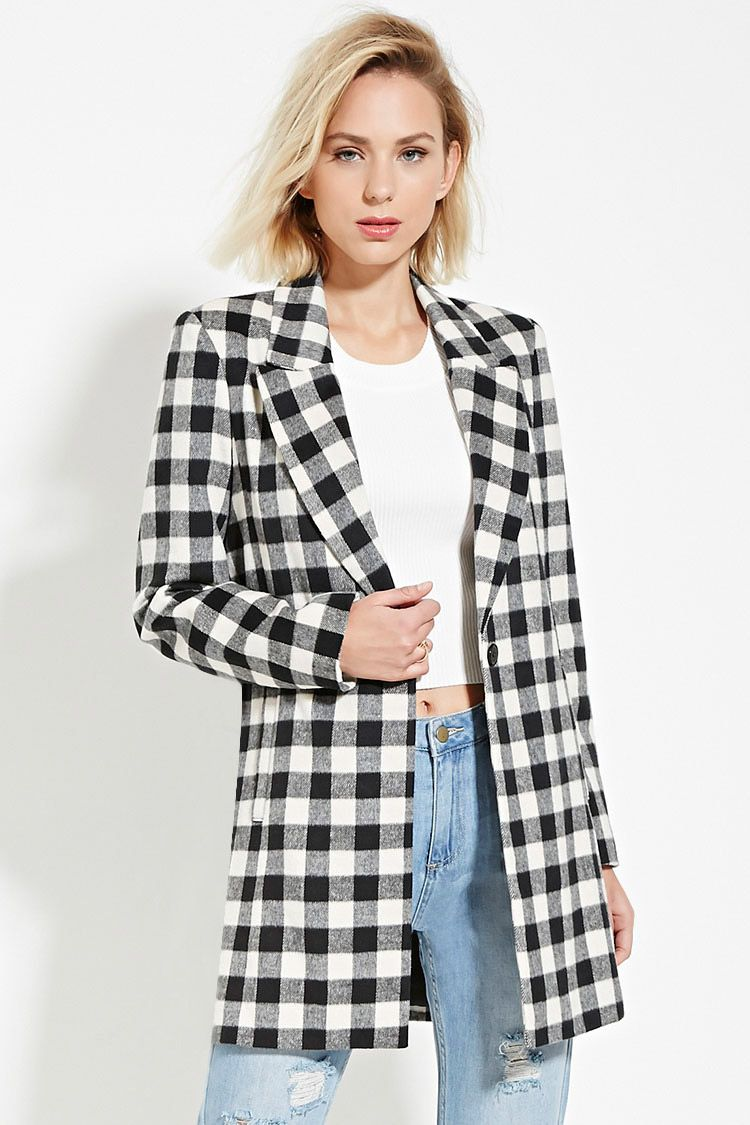 A long-sleeved midweight coat crafted from woven plaid flannel with a buttoned front, a notched lapel, and slanted front pockets.