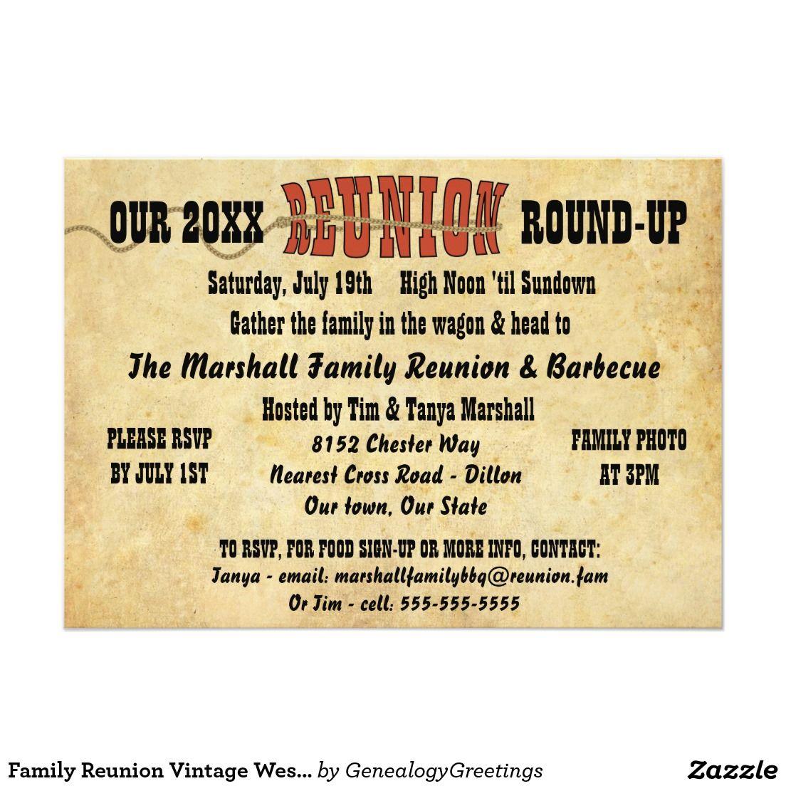 Family Reunion Vintage Western Theme Invitation … | Pinteres…