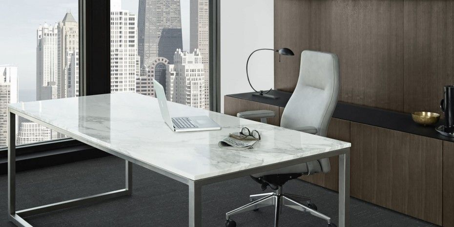 Long Silver Polished Steel Based Office Desk With Rectangle White