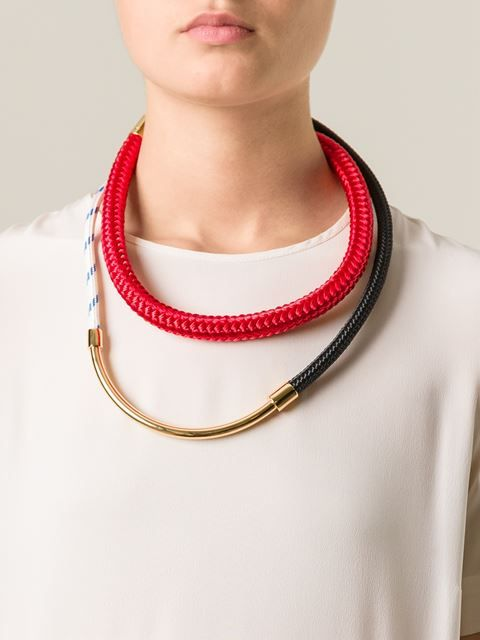 contrasting panel necklace