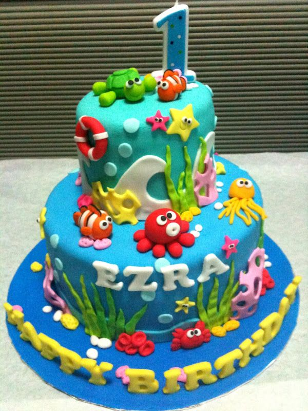 Boys Ocean Themed First Birthday Birthday Ocean Theme Pic 19 Birthday Cake Kids 1st Birthday Ocean Birthday