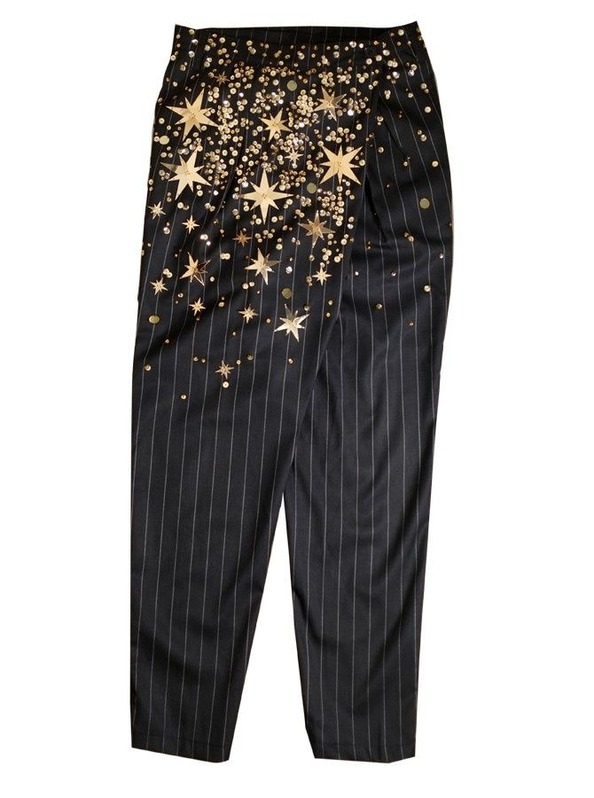KTZ sequin wrapped pinstripe trousers