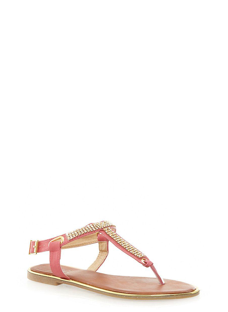 Rainbow Shops Embellished T-Strap Thong Sandals $12.99