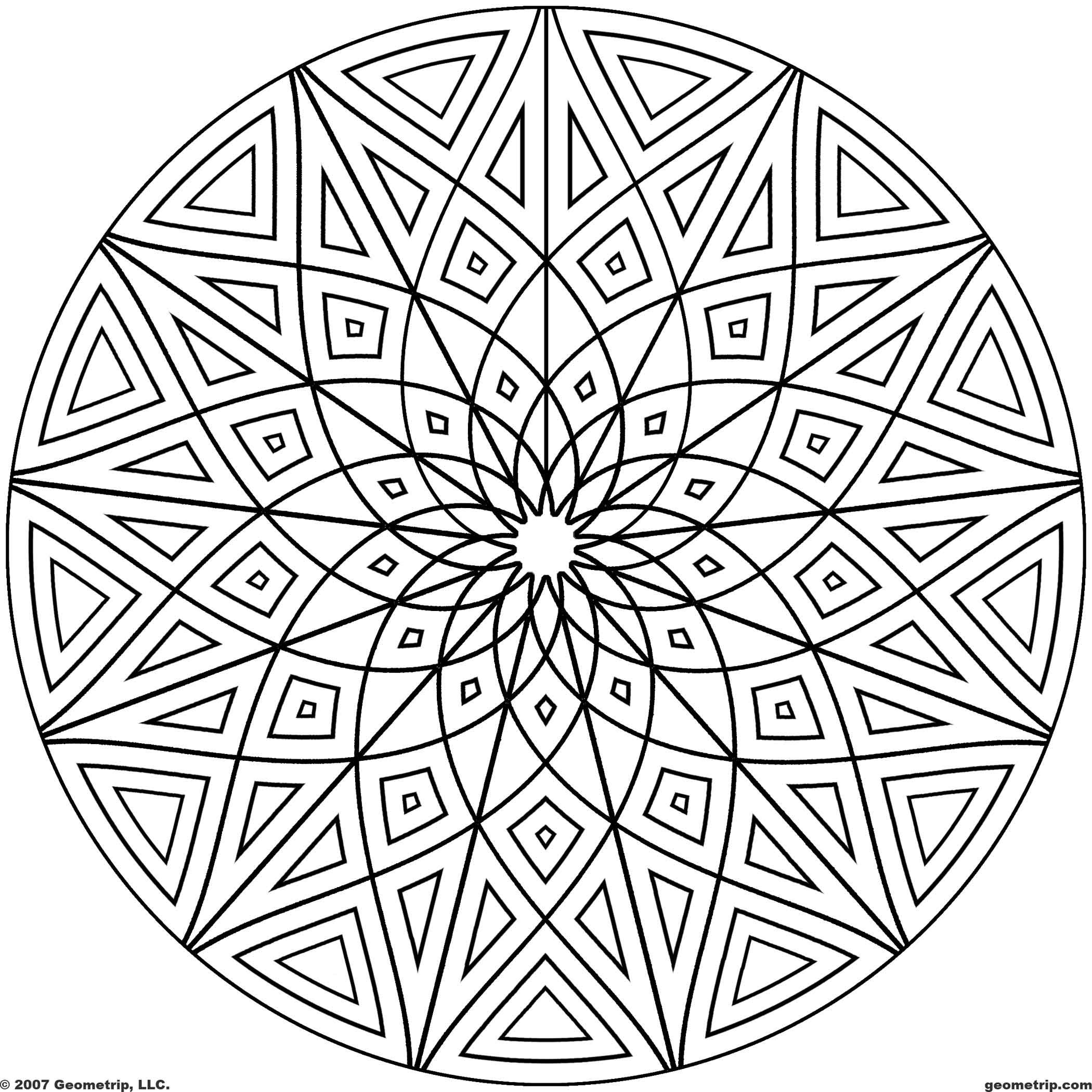 Cool Geometric Designs Coloring Page for free  Circles Page 4 of