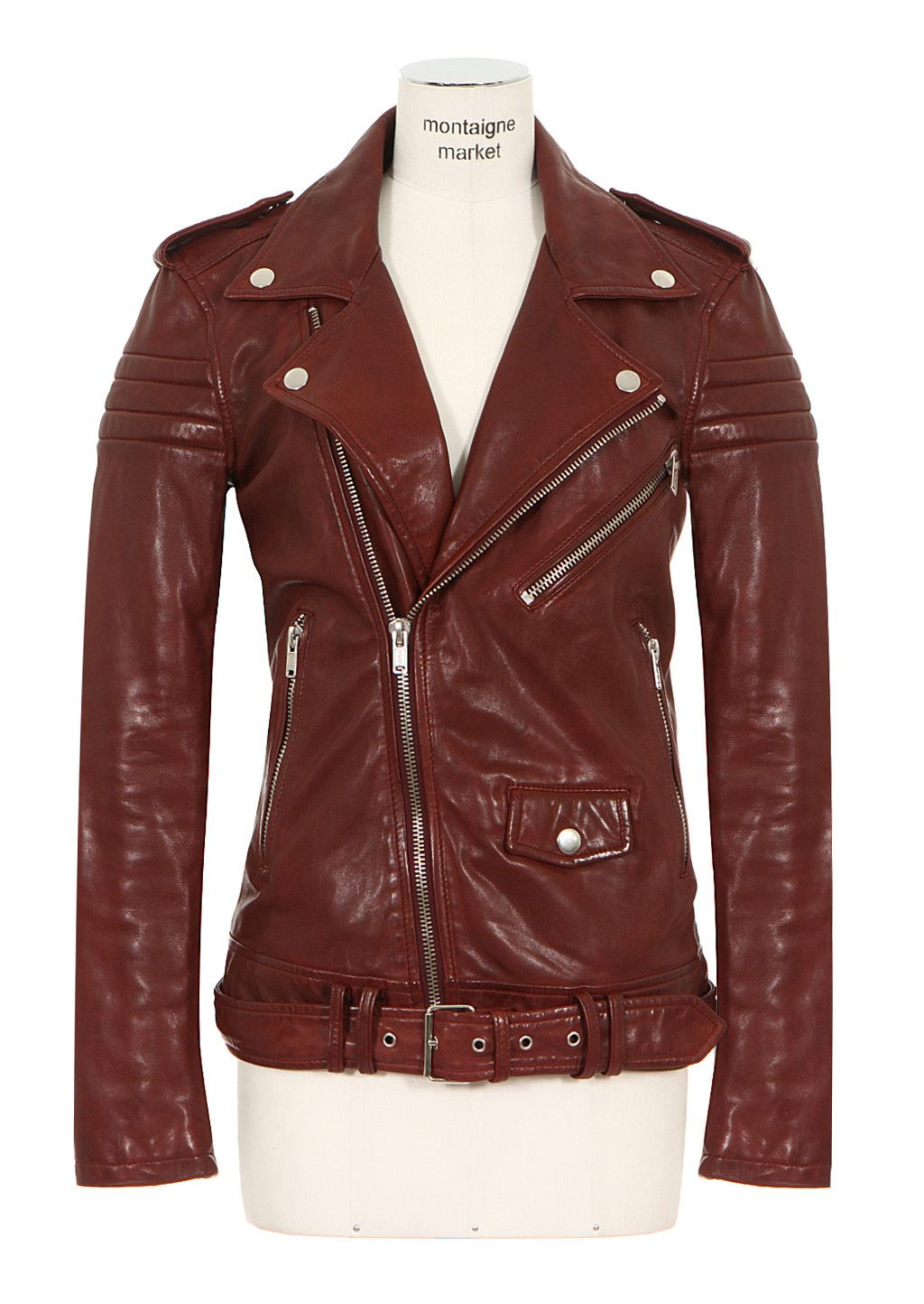 BLK DNM Jackets BLK DNM burgundy leather biker jacket
