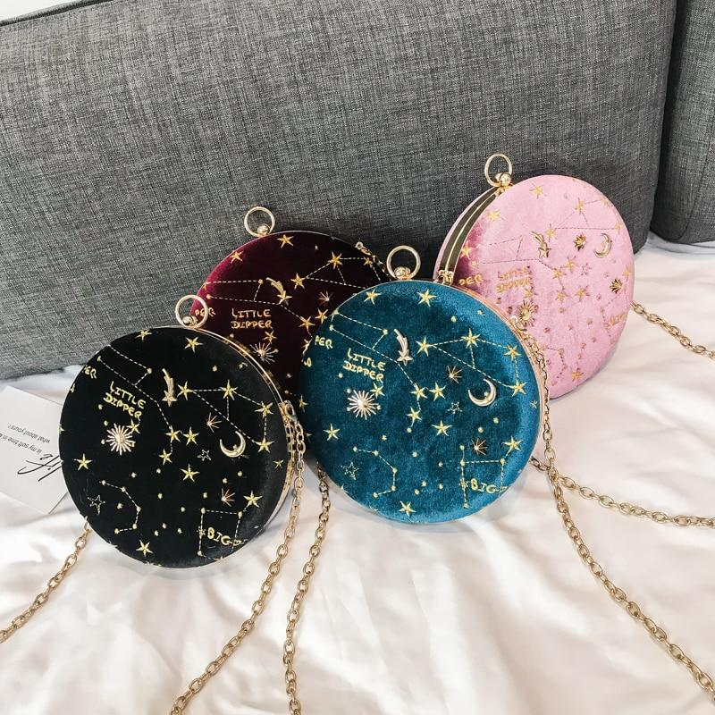 Starry sky Circular Fashion Wool Women Shoulder Bag Leather Women's Crossbody Messenger Bags Ladies Purse Female Round Handbag