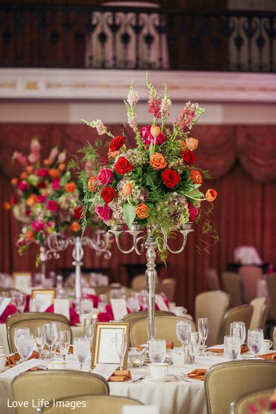 Tables at indian wedding reception http://www.maharaniweddings.com/gallery/photo/102070